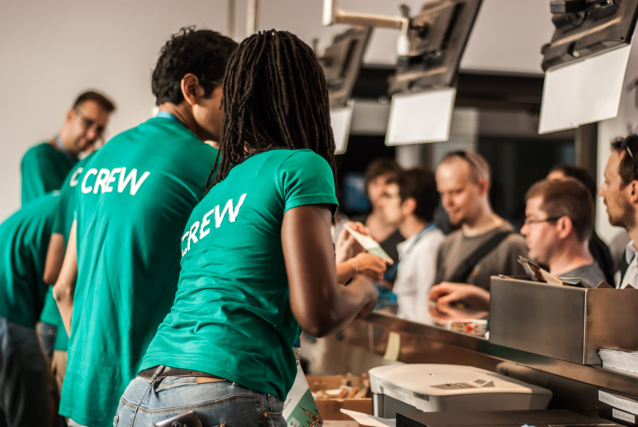 Crew providing customer service